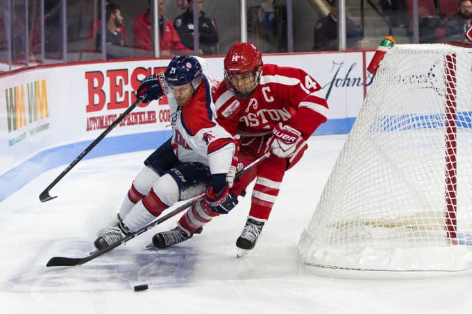 Photo of ice hockey players in action
