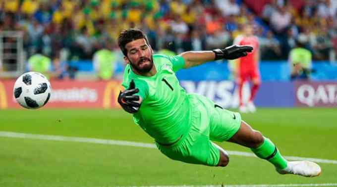 Alisson Becker playing for Liverpool in 2018