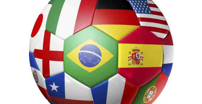 Football (soccer) ball with countries' flags.