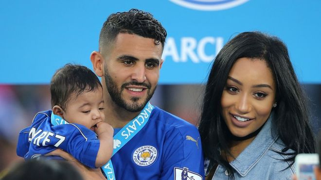 Riyad Mahrez with his wife and daughter