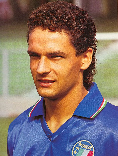 Photo of Roberto Baggio in 1990 - Italian Soccer Player