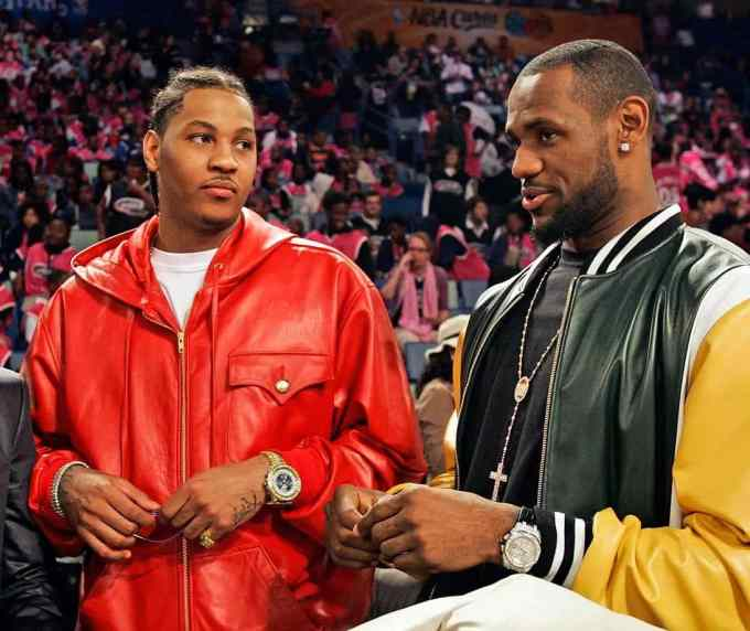 Carmelo Anthony with Lebron James on NBA Drafts night