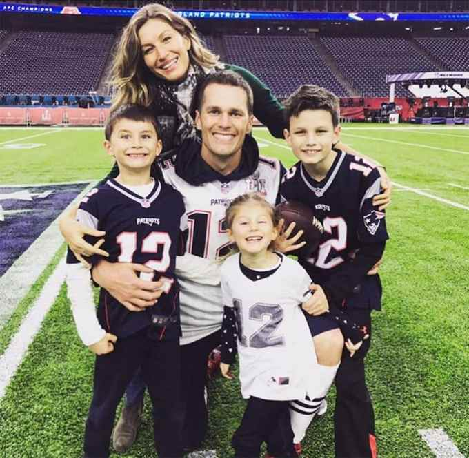 Tom Brady with his family - wife and kids