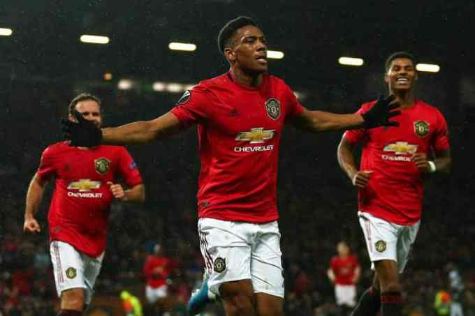 Anthony Martial with Manchester United in 2020