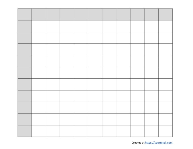 Free Football Squares / Super Bowl Squares Template