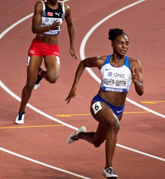 Asher-Smith at the 2019 World Athletics Championships in Doha