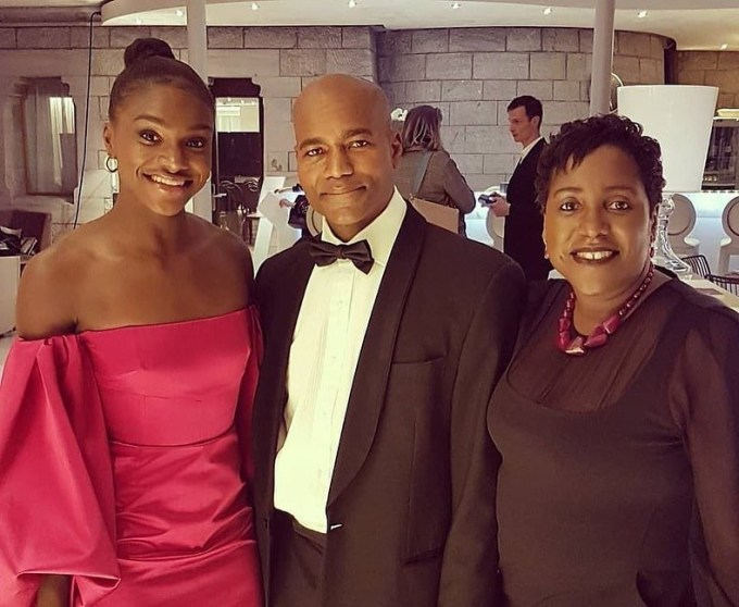 Dina Asher-Smith with her parents Winston and Julie