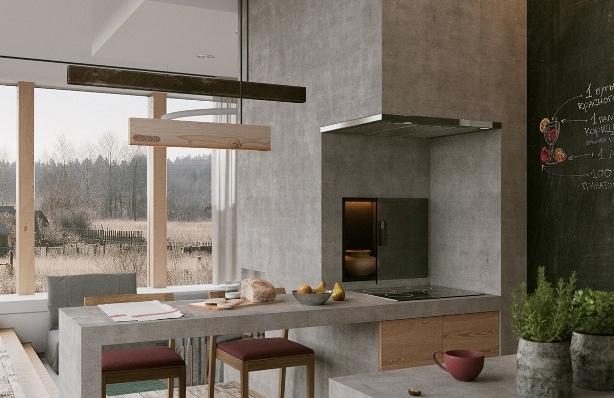 Ochag House, un proiect de casă modernă construită în jurul vetrei tradiţionale