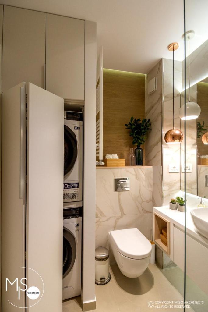 Miso Architects amenajare moderna apartament Bucuresti baie serviciu 1