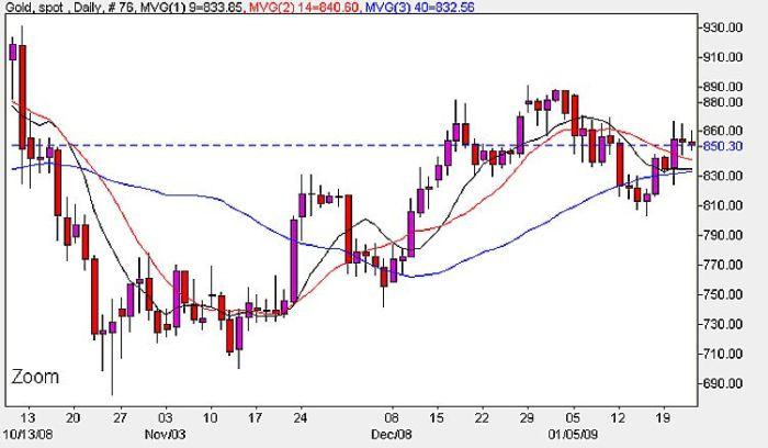 Chart For Spot Gold Prices Today - January 22nd 2009