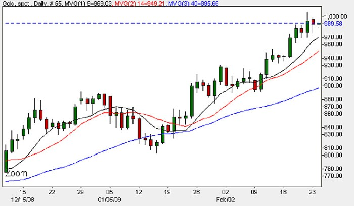 Gold Prices - Daily Candle Chart 24th February 2009