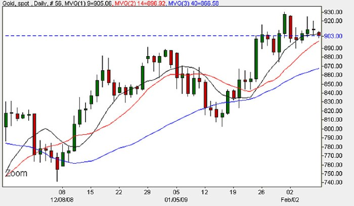 Spot Gold Prices - Daily Candle Chart 9th February 2009