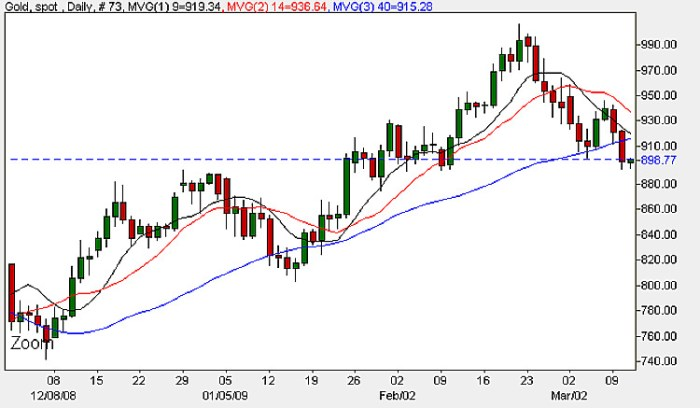 Spot Gold Price - Daily Candle Chart 10th March 2009