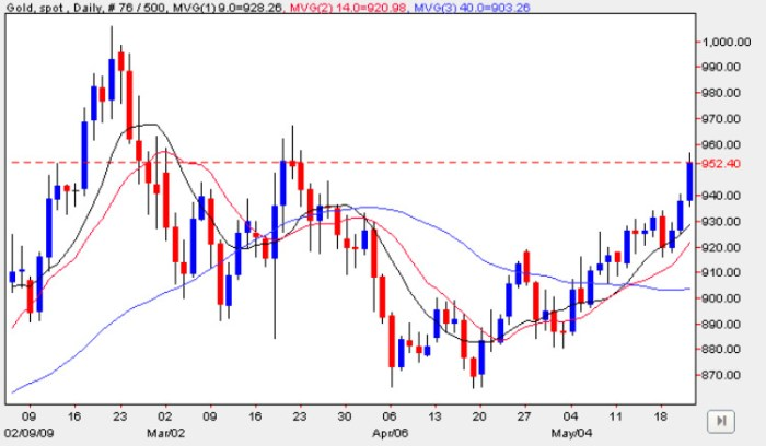 Spot Gold Prices - Daily Gold Chart 22nd May 2009