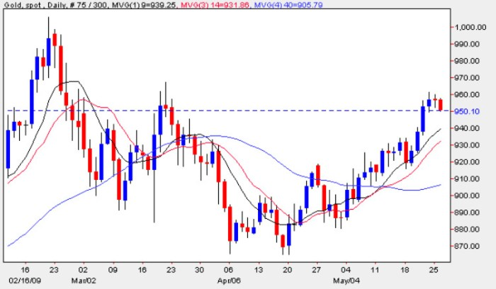 Spot Gold Price Chart - Daily Gold Prices 26th May 2009