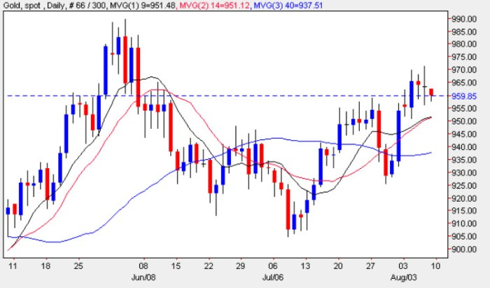 Spot Gold Price - Gold Spot Prices Daily Chart 7th August 2009