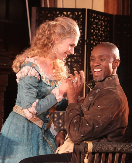 Janie Brookshire and Owiso Odera in Othello. Photo by Carol Pratt.