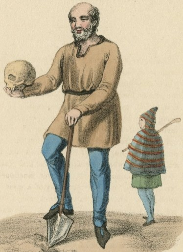 An engraving of the Gravedigger by artist George Scharf, 1825.