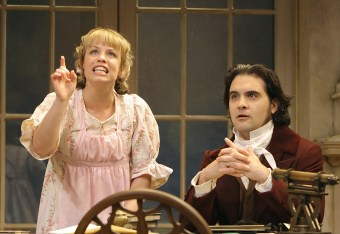 Erin Weaver as Thomasina Coverly and Cody Nickell Septimus Hodge in Arcadia. Photo by Carol Pratt.