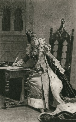 """Mrs. D. P. Bowers as Queen Elizabeth in Paolo Giacometti's """"Elizabeth, Queen of England"""". c1888."""