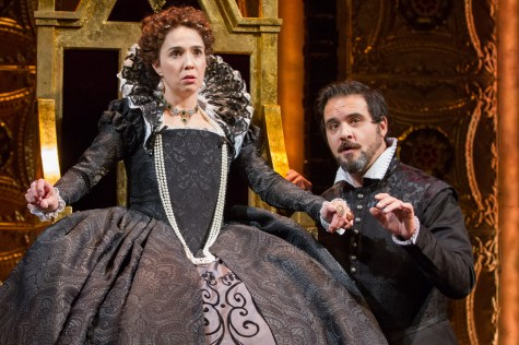 """Holly Tywford as Elizabeth I and Cody Nickell as Leicester in Schiller's """"Mary Stuart"""" directed by Richard Clifford. Folger Theatre, 2015. Photo by Teresa Wood."""