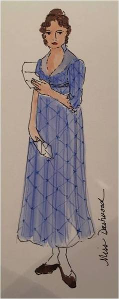 Costume sketch for Elinor Dashwood (Maggie McDowell). Costume Designer: Mariah Hale.