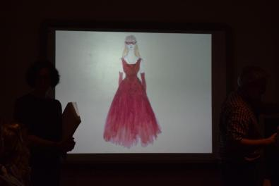 Charlotte Palmer-Lane and a costume sketch for Rosalind, 2016. Photo: Bridget Reilly.
