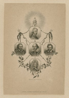 Portraits, including Dryden, Massinger, Shakspeare, Jonson, Congreve engraved on steel by W.T. Fry. Folger Shakespeare Library.