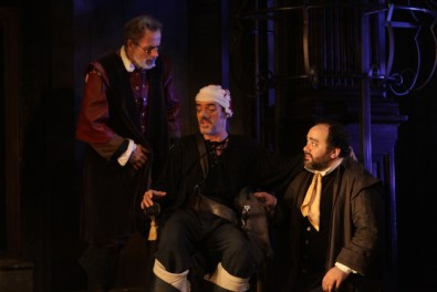 Cyrano (Eric Hissom) and Raguebeau (Richard R. Henry), Cyrano, 2011. Photo: Carol Platt.