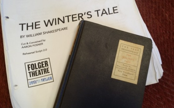 Katie deBuys' grandmother's copy of The Winter's Tale and deBuys' script.