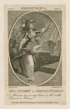Miss Stuart in Joan la Pucelle [in Shakespeare's] Henry VI, pt. I, act I, sc. 6. Print by George Simon Harcourt. Folger Shakespeare Library.