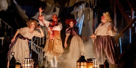 Emily Noël, Louis Butelli, Rachael Montgomery, and Ethan Watermeier in Macbeth, 2018.