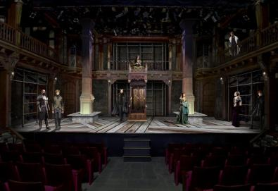 The original rendering for King John, with the elaborate throne center.