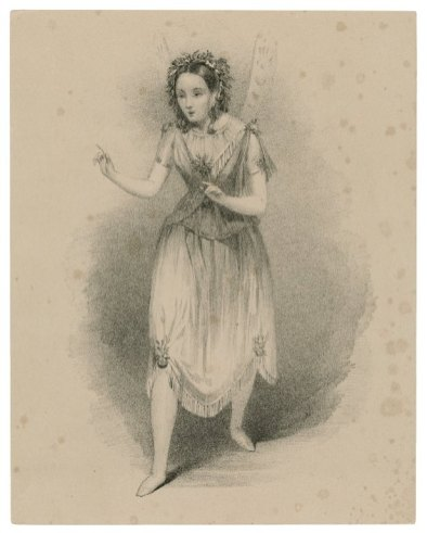 Black and white illustration of a woman with dark hair wearing a light dress with delicate fairy wings
