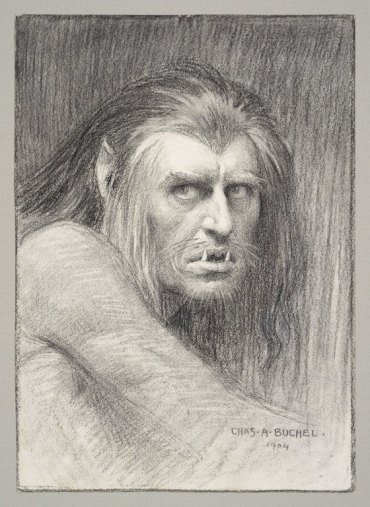 A black and white illustration of a man with long hair, pointed ears, whiskers and lower fangs