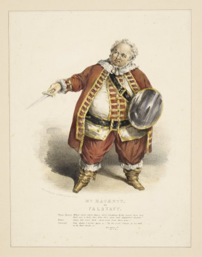 A 19th-century color illustration of a white haired, large man wearing a red and gold coat and carrying a sword and round shield