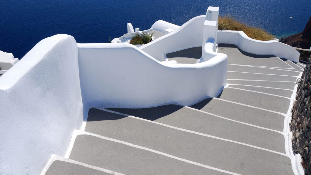 Stairs To Sea Santorini Village Of Oia Greece Windows