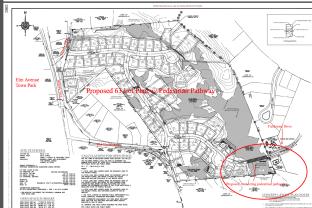 Alternate, higher density plan with pathway