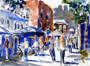 An artist's view of the Stockade Villagers Art Show. Painting by Kevin Kuhne