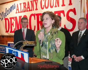Assemblywoman Pat Fahy speaks at the Polish American Citizens Club on Election Day (photo by Jim Franco/Spotlight News)