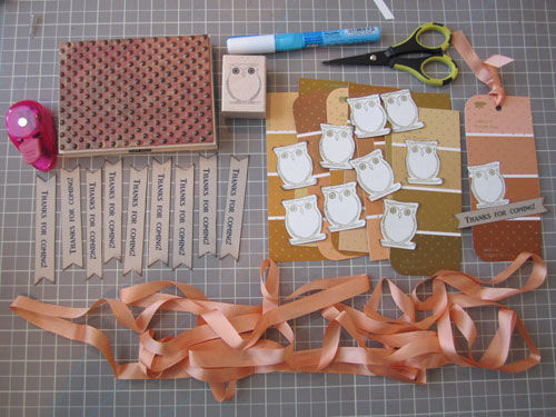 supplies and finished thank you tag made from paint chips