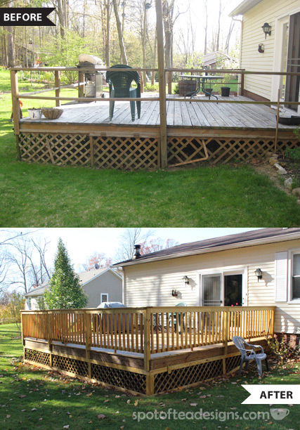 Deck makeover before and after | spotofteadesigns.com