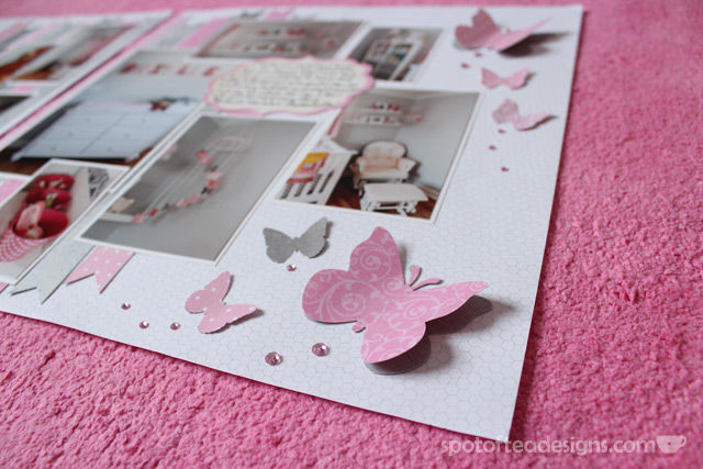 Baby GIrl Scrapbook: Layered Butterflies | spotofteadesigns.com
