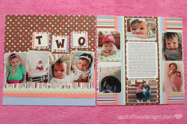 Baby Scrapbook: Create 1 two page spread with favorite photos of the month and journaling of milestones/highlights. Month 2 | spotofteadesigns.com