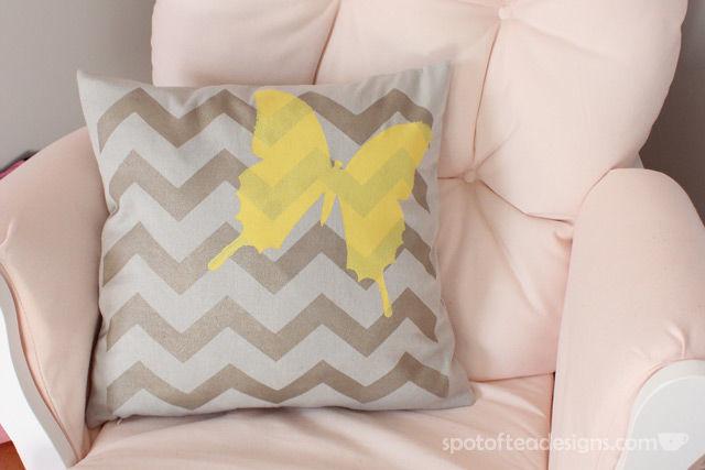 Tulip #ForYourHome Stenciled Pillow Tutorial   spotofteadesigns.com