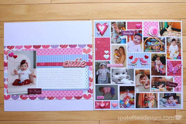 Baby Book as Scrapbook: month 6 two page spread using K&Company paper collection | spotofteadesigns.com