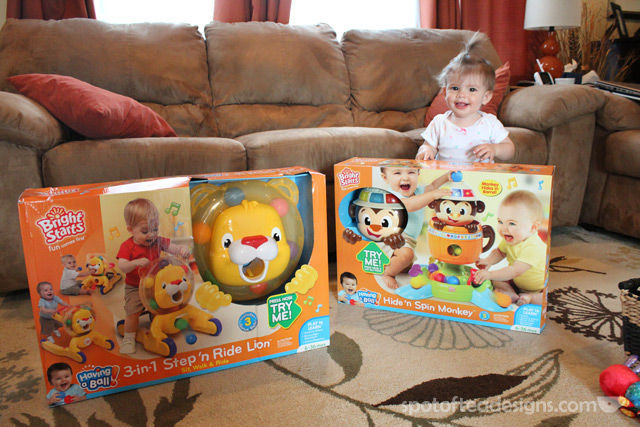 Spotofteadesigns.com reviews Bright Starts Step n Ride Lion and Hide n Spin Monkey | spotofteadesigns.com