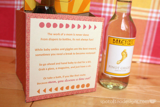 Mommy's Time Out Wine Gift: Poem on back