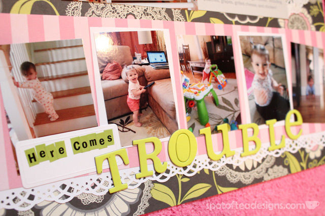 Scrapbooked Baby Book: Month 9 featuring Amy Butler paper | spotofteadesigns.com