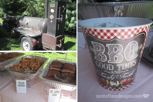 Catered onsite BBQ for first birthday party (who wants to cook for that many guests?!) | spotofteadesigns.com